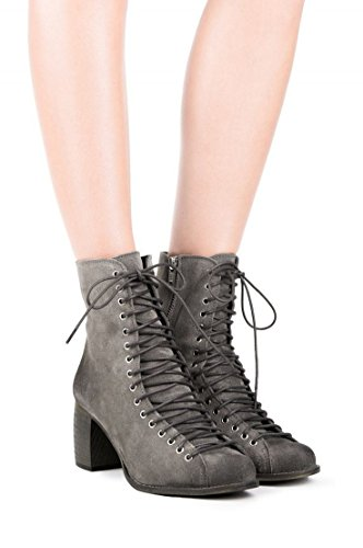 Jeffrey Campbell Scheme Black Combo Square Toe Angled Block Heel Ankle Booties rZeNfy