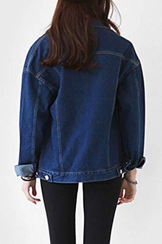 Tasche Elegante Giaccone Fashion Puro Donna Cute Manica Jacket Di Colore Con Chic Lunga Button Giacca Sciolto Blu Classica Moda Outerwear Cappotto Denim Jeans qUxEwCp