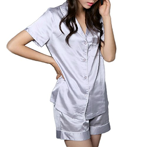 (NANJUN Women's Satin Pajamas Sleepwear Short Button-Down Pj Set(Silver,m))