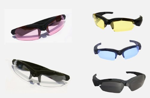UltraByEasyPeasyStore POV Glasses & 4 Lens pack Black Blue Pink Yellow Action Video Camera 720p HD High Resolution sports glasses for outdoor use - Glasses Poloroid