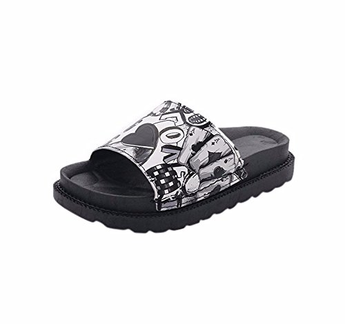 YUCH Las Damas Zapatillas EN Verano Y Sandalias De Fondo Plano Black
