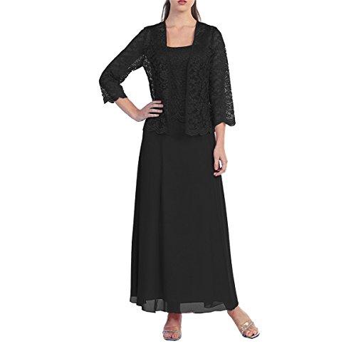 Dressyu Des Femmes De Mère En Mousseline De Soie De La Robe Formelle Mariée Avec La Veste En Dentelle Noire