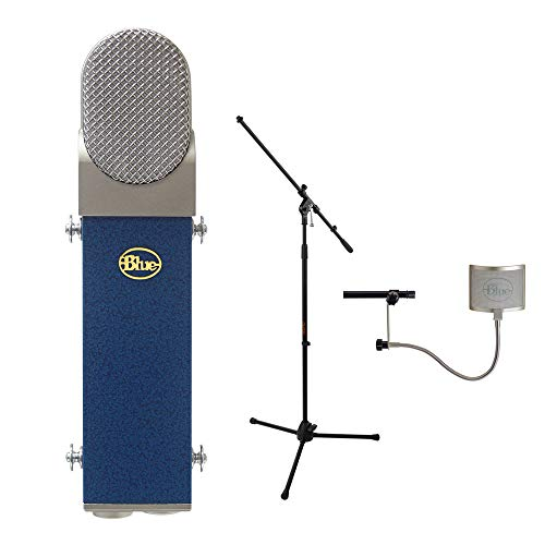 Blue Blueberry Cardioid Studio Condenser Large Diaphragm Microphone with Blue Universal Wire Mesh Windscreen & Tripod Microphone Stand w/Fixed Boom Kit (Cable Blueberry Microphone)