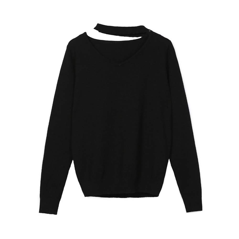 DISSA S7819502 Women Long Sleeve Solid Coloured Slim V-Neck Pullover Knitwear Sweater