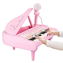 Piano for Kids,aPerfectLife 24 Keys Electronic Musical Multifunctional Instruments Keyboard Play Piano Organ Children Educational Toy with Microphone(Pink)