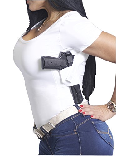 AC UNDERCOVER Women's Concealment Scoop Neck T-Shirt Holster WHITE Ref.211 (WHITE, LARGE)