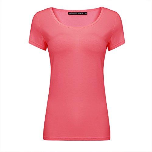 OThread & Co. Women's Short Sleeve T-Shirt Scoop Neck Basic Layer Spandex Shirts (Medium, Coral)]()