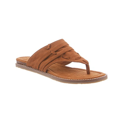 BEARPAW Womens Lizzy Comfort Microsuede, Rubber Sandals Tan