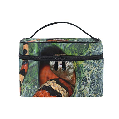 Makeup Bag Cosmetic Storage Bag Nature Texture Wildlife Snake Pattern Cave Jungle Portable]()