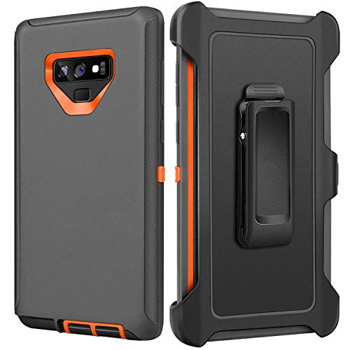 FOGEEK Case for Galaxy Note 9 - Belt Clip Holster - Kickstand - Heavy Duty Protection Rugged Armor Full Body Case Compatible for Samsung Galaxy Note 9 (2018) (Dark Grey/Orange)