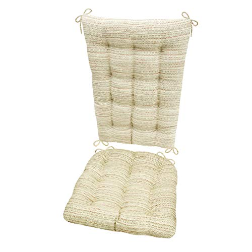 Barnett Products Rocking Chair Cushions - Brisbane Cream - Size Standard - Latex Foam Filled Cushion - Reversible (Ivory)