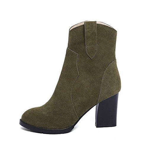 Closed Platform Thread Boots AmoonyFashion Green Toe Toe Heels High and With Round Womens xRFU6