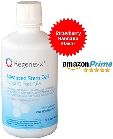 8-in-1 Premium Joint Supplement, Regenexx Advanced Strawberry-Banana Flavored Stem Cell Support Formula - Money Back Guarantee