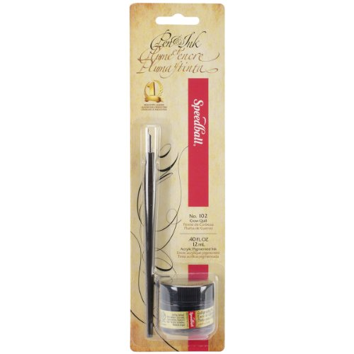 102 Crow Quill (Speedball Calligraphy Pen and Ink Set, Black)
