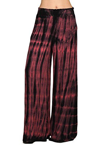 HEYHUN Womens Palazzo Pants Tie Dye Boho Gauze Casual & Lounge Wide Leg Bottoms - Coral Black - Small