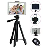 TESVERO 50-inch Tripod for iPad iPhone Tablet Camera + Wireless Remote + 2 in 1 Holder Mount Compatible for Smartphone(Width 2'-3.2') and Tablet (Width 4.3'-7.2')
