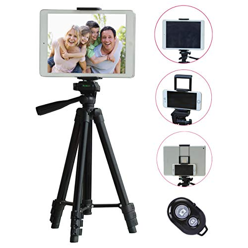 TESVERO 50-inch Tripod for iPad iPhone Tablet Camera + Wireless Remote + 2 in 1 Holder Mount Compatible for Smartphone(Width 2