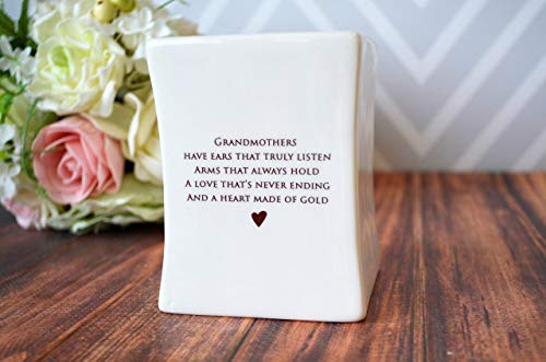 Unique Grandmother Gift - SHIPS FAST - Square Vase - Gift Boxed and Ready to Give