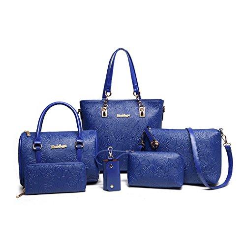 Donna Borse a mano Borse a tracolla Borse a spalla Borse Tote Borse a secchiello Pelle 3 pezzi Blu Blu