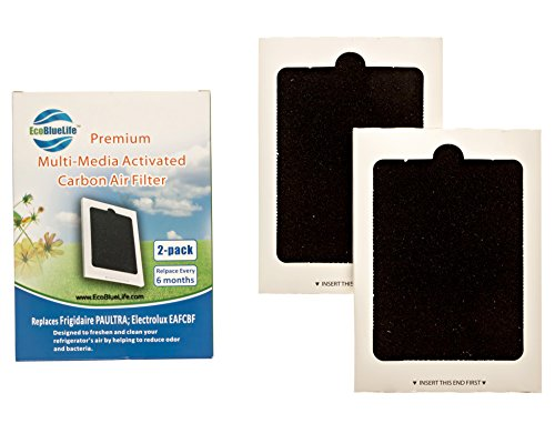 Price comparison product image EcoBlueLife 2-Pack Premium Replacement Refrigerator Air Filters - Compatible with Frigidaire Pure Air, Ultra PAULTRA and Electrolux EAFCBF filters.