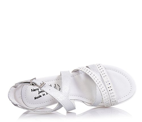 NERO GIARDINI - Sandalia plata de cuero y ante, con cierre de hebilla, strass decorativos, Niña, Niñas