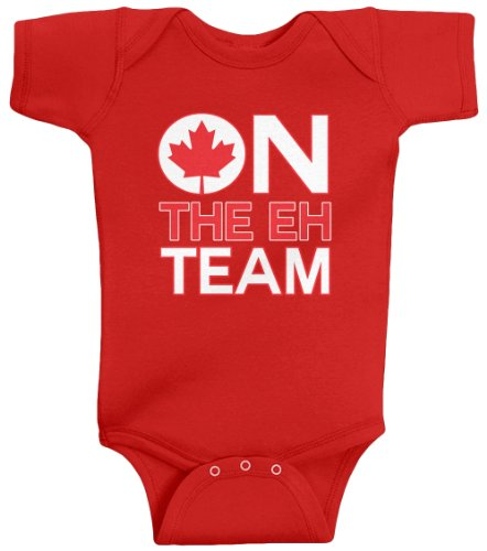 Threadrock Unisex Baby On The Eh Team (Canada) Bodysuit 12M Red