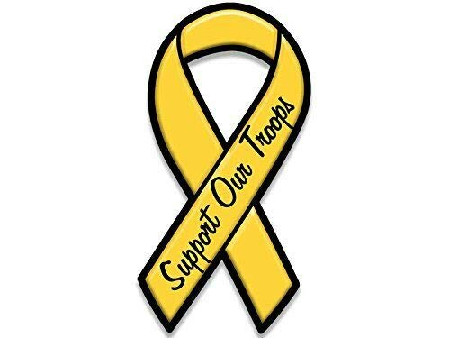 MAGNET 3x6 inch YELLOW Support Our Troops Ribbon Shaped Sticker (Military US Army) Magnetic vinyl bumper sticker sticks to any metal fridge, car, signs