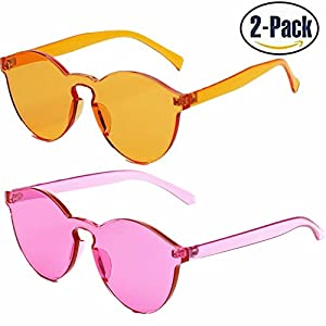JOJO'S SECRET One Piece Rimless Sunglasses Transparent Candy Color Women Sunglasses JS017 (Orange+ Rose Red, 2.3)