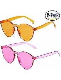 One Piece Rimless Sunglasses Transparent Candy Color...