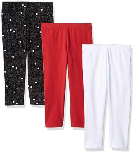 Amazon Essentials   Girls' 3-Pack Capri Legging, Flower/Pink/White M