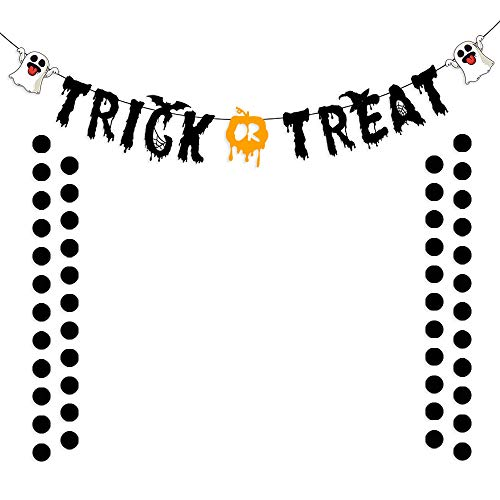 Black Glittery Trick or Track Banner with Glittery Circle Dots Garland Halloween Party Decoration Supplies ()