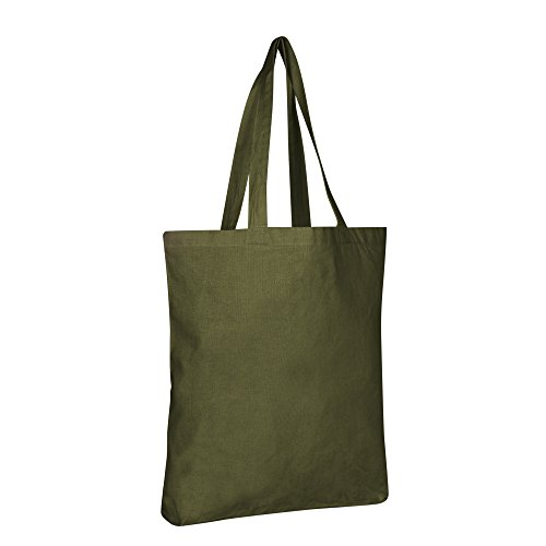 100% Eco Friendly Cotton Canvas Reusable Grocery Plain Tote Bags Set by BagzDepot (12 Pack, ()