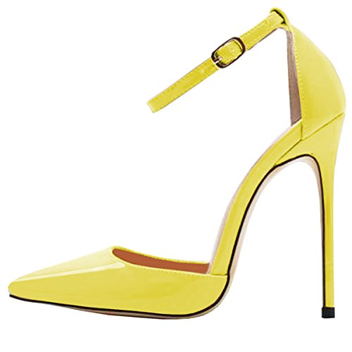 (Lovirs Womens Yellow High Heel Pointed Toe Ankle Strap Stiletto Pumps Wedding Basic Shoes 8 M US)