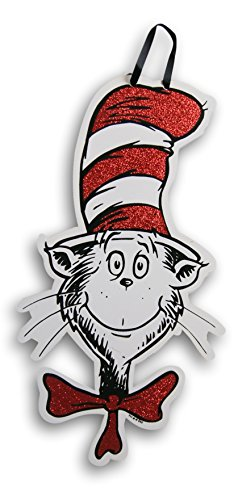 Dr Seuss Signs (Dr. Seuss Cat in the Hat Shaped Glitter Hanging Sign - 14)