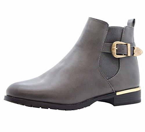 SAUTE STYLES Womens Flat Block Heels Chelsea School Ankle Boots Size 3-8 Grey New