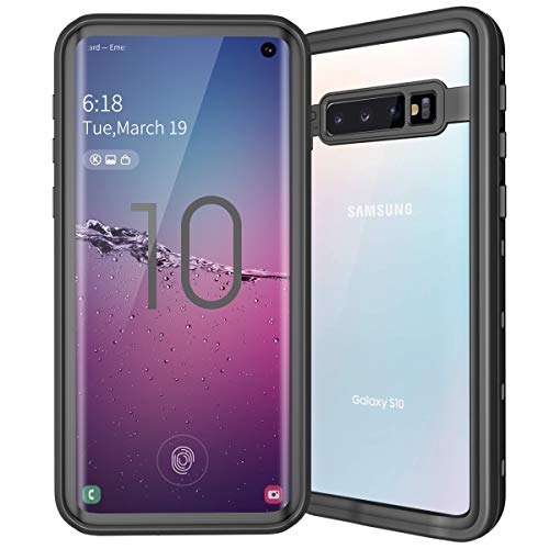 ShellBox Waterproof Cases Compatible for Samsung Galaxy S10 with Built-in Screen Protector,Full-Body Heavy Duty Dropproof Shockproof Bumper Case Rugged Resistant Protective Hard Cover for Galaxy S10 ()