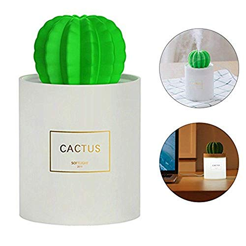 Ownsig Difusor de Aroma con Luz de Noche, Mini USB Humidificador Ultrasónico Cactus, Difusor de Aceite Esencial para...