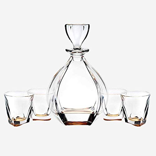 James Scott Brookdale Amber European Made 5 Piece Crystal Bar Set, for Whiskey, and Wine. Includes a 32oz Decanter with a diamond shaped stopper, and 4 x 9 oz. crystal DOF Glasses-Perfect Holiday Gift -
