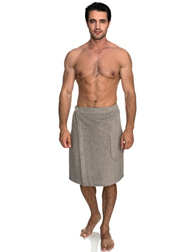 (TowelSelections Men's Wrap, Shower & Bath Terry Towel with Snaps Large/XX-Large Drizzle Gray)