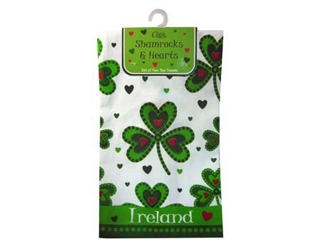 Shamrock and Hearts Designed Set of Two Tea Towels with Ireland Text by Traditional Craft Ltd