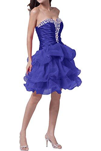 Tanzenkleider Traegerlos Partykleider Organza Violett Strass Abiballkleider Abendkleider Ivydressing Mordern Kurz Damen ABqI0IU
