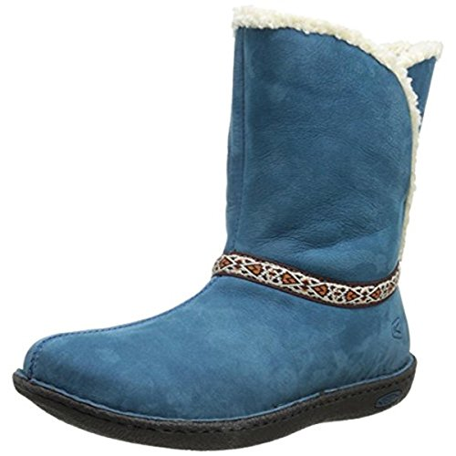 Keen Womens Galena Leather Faux Fur Winter Boots Blue 6.5 Medium (B,M) (Heels Leather Keen)
