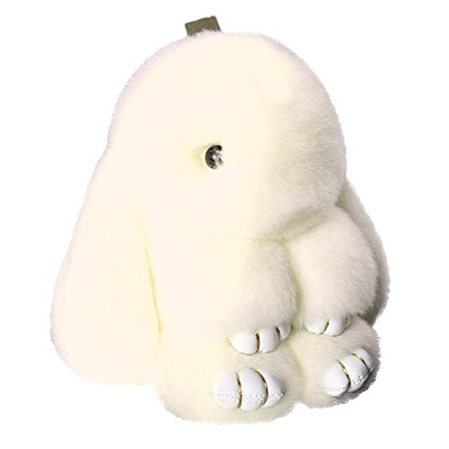 - IKEPOD Rex Rabbit Fur Keychain, Fluffy Real Bunny Keyring, Soft Cute Pom Pom Ball Doll Pendant Key Chain, Plush Charms for Car/Handbag - Beige
