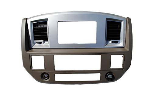 Dodge Ram 2006 2007 2008 2009 Khaki w/Upper Silver Aftermarket Double Din Stereo Radio Dash Kit Install Bezel +Wiring Harness / Antenna Adapter (Khaki/Silver and Standard Non Canbus Wire Harness)