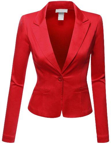 Doublju Women Comfortable Boyfriend Cropped Regular Fit Suit Jacket RED,3X