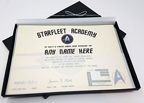 (planetsforsale Deluxe Star Trek Starfleet Academy Certificate in a Luxury Gift Box - Personalized with The Name of Your Choice)