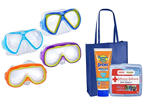 Splash-N-Swim Child-Sized Swim Masks Goggles Assortment! (Set of 4) Plus Bonus ''Safety First'' Summer Essentials Pack! by Grennbrier Int