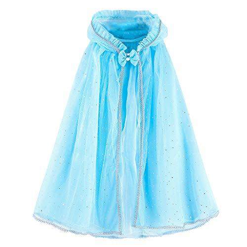 〓COOlCCI〓Kids Princess Hooded Cape Cloaks Costume for Girls Dress Up Sequin Tulle Cloaks Outwear Halloween Costume Dress Sky Blue