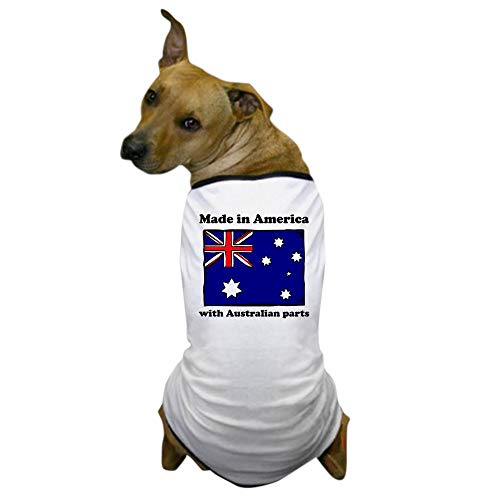 CafePress Made in America with Australian Parts Dog T Shirt Dog T-Shirt, Pet Clothing, Funny Dog Costume