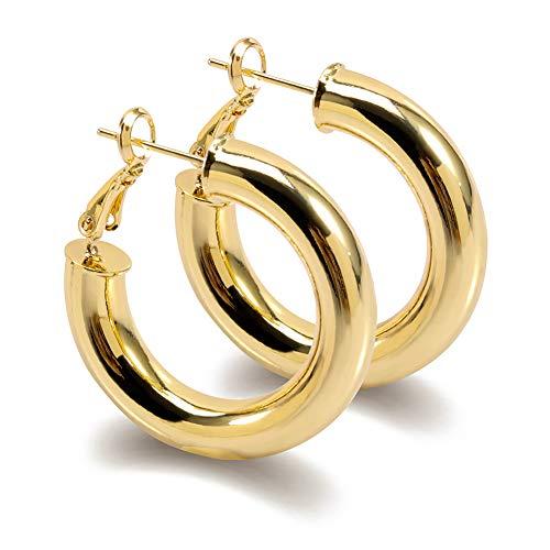 Thick Gold Hoop Earrings Statement Gold Hoops Stud Stainless Steel Gold Plated Earrings for - Earrings Gold Hoop